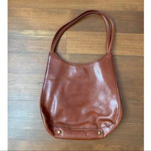 Monsac brown leather U-shaped shoulder bag